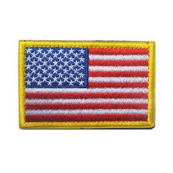 Embroidered American Flag Patch (Gold Border)