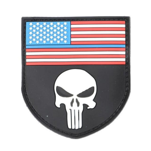 Military Morale Patch (Punisher Flag USA)