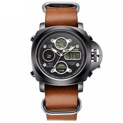 Military Style Casual Leather Sports Watch