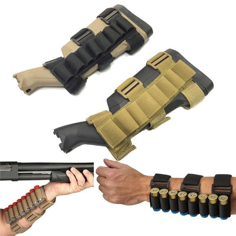 Racks And Holsters - Tactical Shooter's Forearm Shotgun Shell Pouch 12GA Ammo Holder