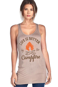 Life Is Better By The Campfire Racer Back Scoop - www.DealsOnBackpacks.com