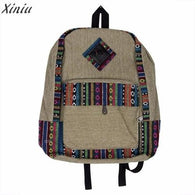Canvas Backpack women men national wind Floral - www.DealsOnBackpacks.com