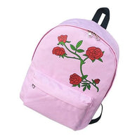 Canvas Rose Flowers backpack Women Preppy Style - www.DealsOnBackpacks.com