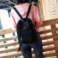Fashion  backpack female Women's Canvas Tassel - www.DealsOnBackpacks.com