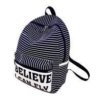 Fashion Women Canvas Satchel Stripe Believe - www.DealsOnBackpacks.com
