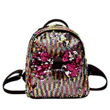 Women Backpack Bow Tie Small Backpack Sequins - www.DealsOnBackpacks.com