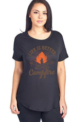 Life Is Better By The Campfire Short Sleeve Top - www.DealsOnBackpacks.com