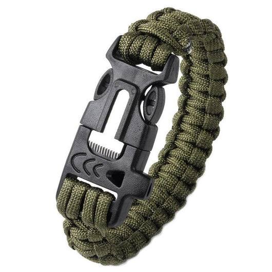 6 In 1 Multifunctional Outdoor Survival Bracelet with Fishing Line, Hooks, Compass, Paracord, Flint Fire Starter, Emergency Whistle - www.DealsOnBackpacks.com