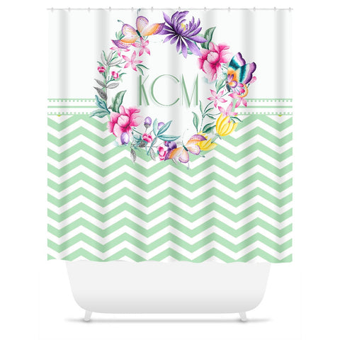 Shower Curtain.  Personalized Seafoam Chevron Floral Wreath Shower Curtain.