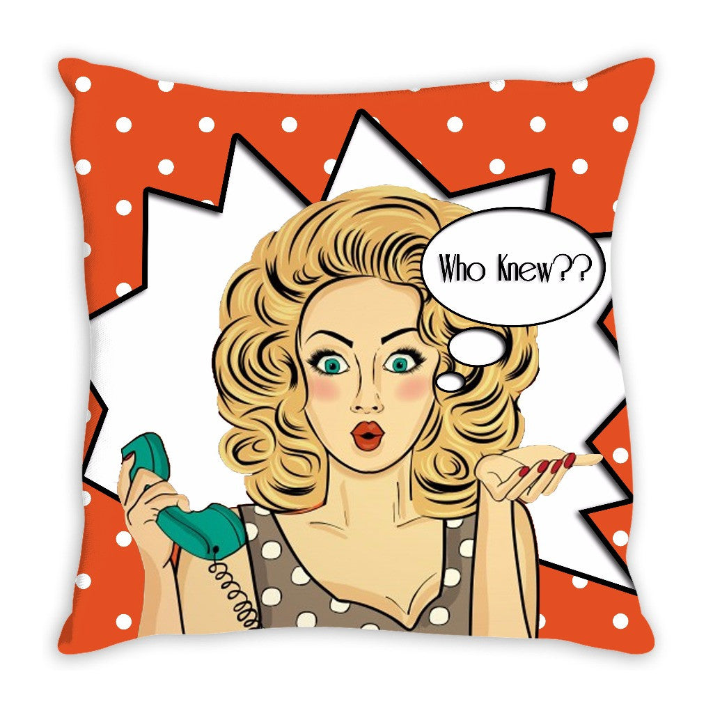Throw Pillow.  Beautiful Retro Girl Throw Pillow. Great Colors! Matching Wall Art Available