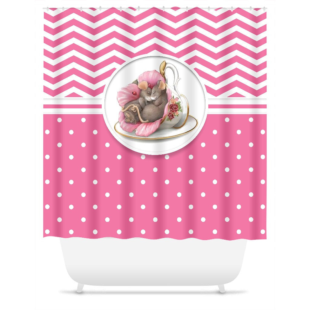 Adorable Chevron/Polka Dot Mouse Shower Curtain