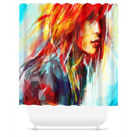 Shower Curtain.  Abstract Water Color Red Head