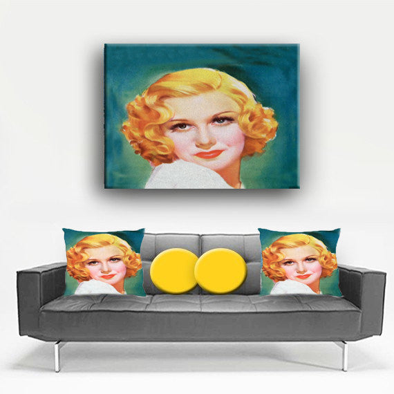 Watercolor Canvas Wall Art. Beautiful 1940's Girl Canvas. Matching Throw Pillow Sold Serperately