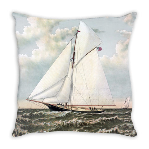 Throw Pillow.  Beautiful Vintage Sailboat Throw Pillow