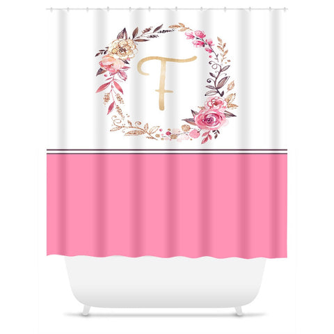 Shower Curtain. Pink and White Monogrammed Shower Curtain. Personalized Shower Curtain
