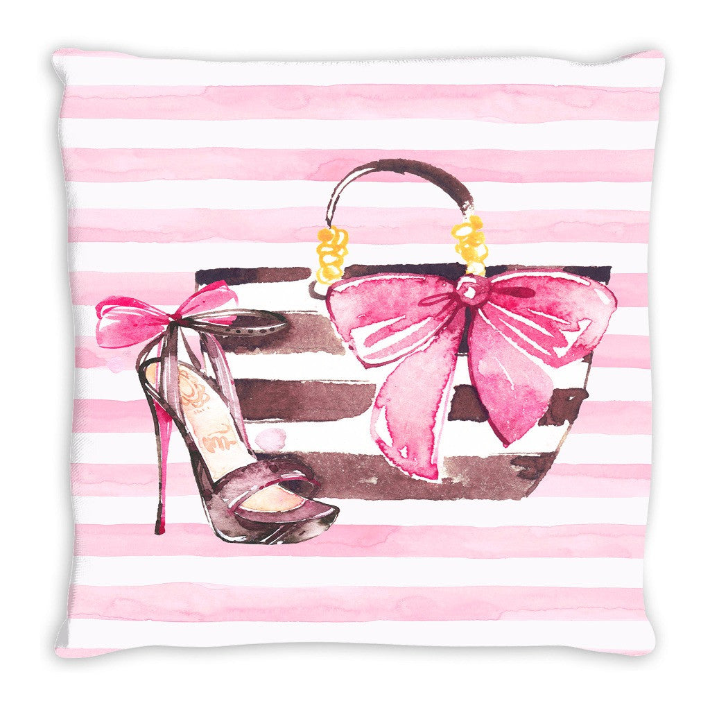 Throw pillow.  Pink and White Striped Watercolor Fashion Thow Pillow