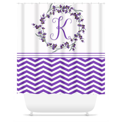 Shower Curtain.  Personalized Purple and White Chevron Floral Shower Curtain.