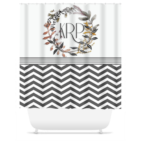 Shower Curtain.  Grey Chevron Wreath Shower Curtain.