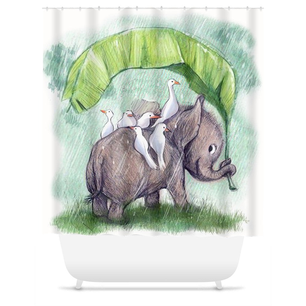 Water Color Elephant Shower Curtain