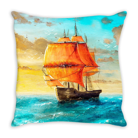 Throw Pillow.  Beautiful Watercolor Magestic Ship.  Matching Canvas Art Work Available.  Sold Seperately.