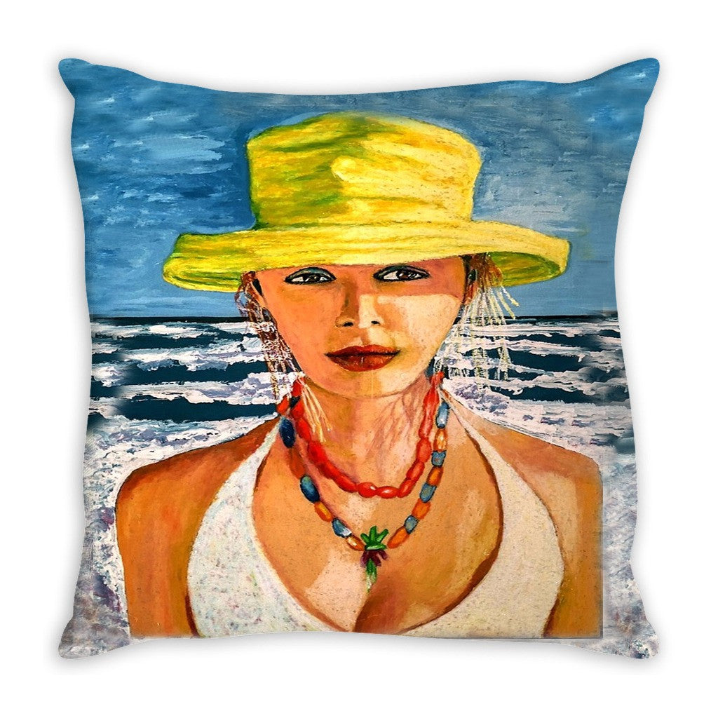 Throw Pillow. Beautiful and Colorful Bohemian Girl.  Matching  Canvas Wall Art Available