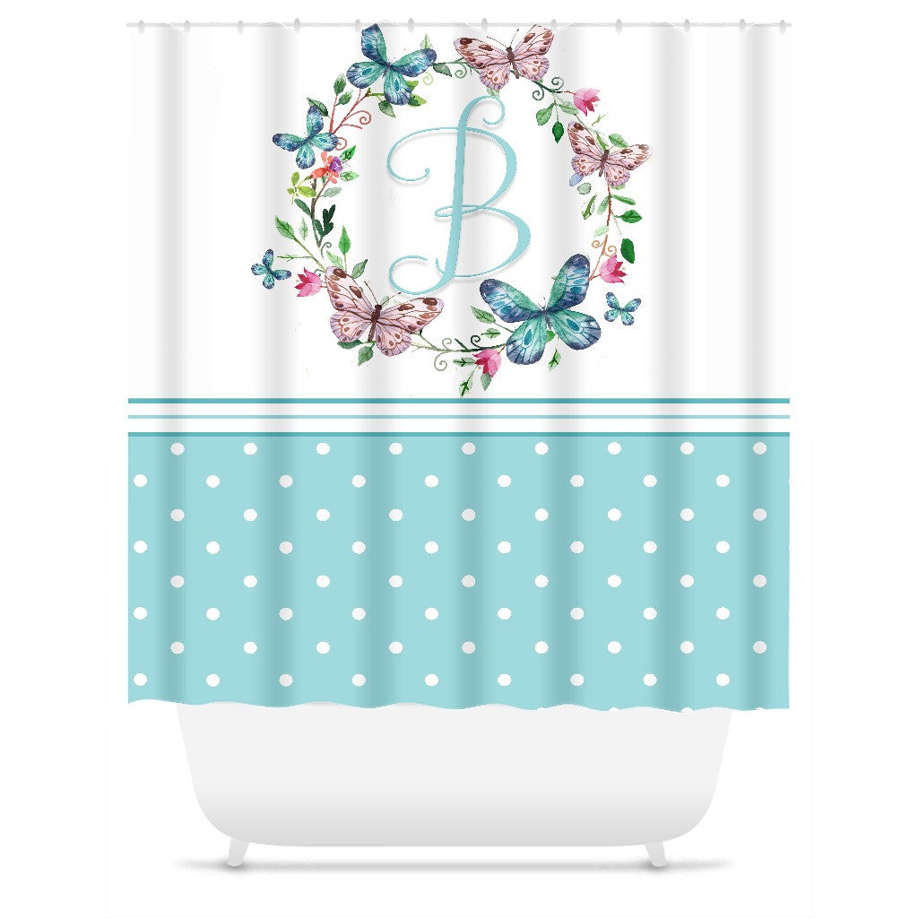 Personalized Shower Curtain Aqua Polka Dot Floral Wreath