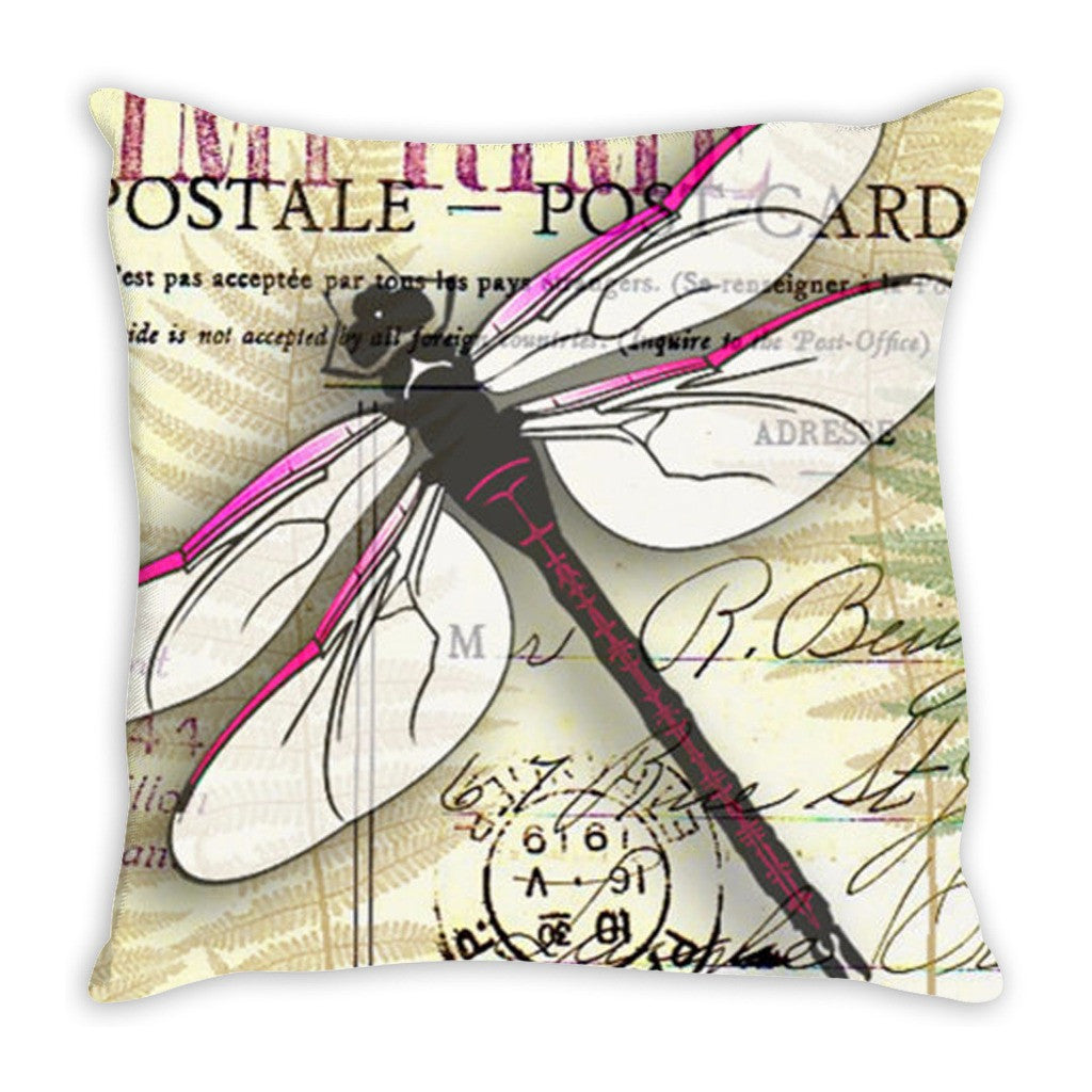 Throw Pillow.  Vintage Dragonfly Throw Pillow