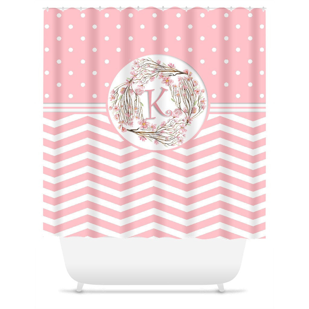 Shower Curtain. Pink Personalized Shower Curtain. Chevron Polka Dot Curtain