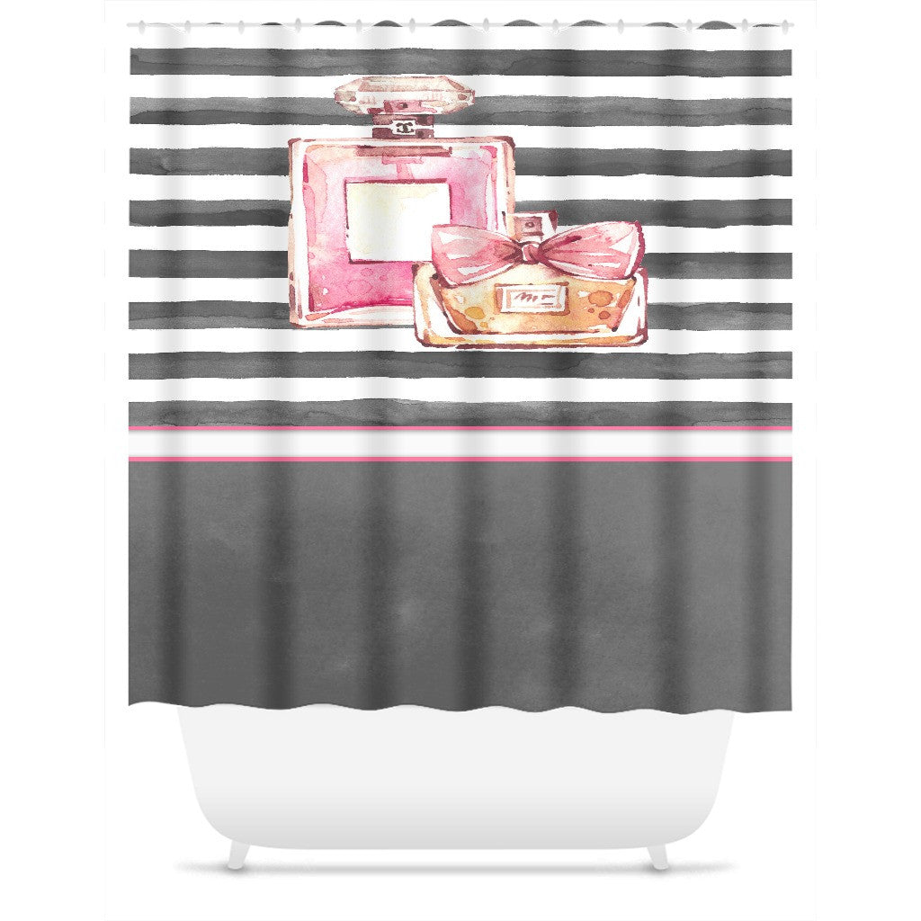 Shower Curtain.  Pink and Grey Watercolor Striped Personalized Shower Curtain