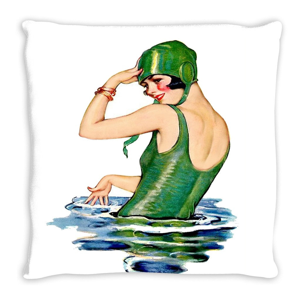 1920's Swimmer Throw Pillow