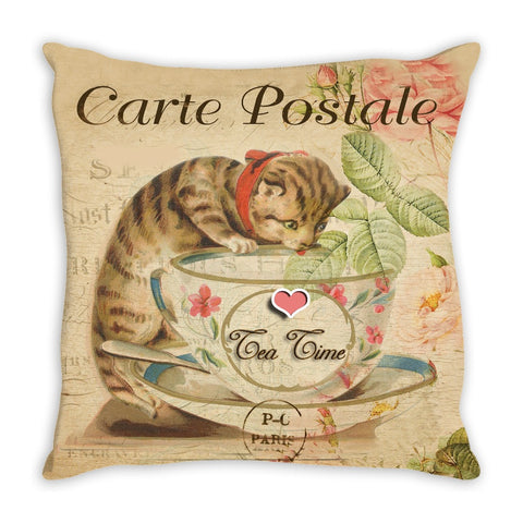 Throw Pillow.  Vintage Tea Time Kitty Throw Pillow