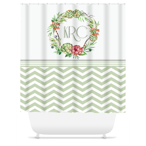 Shower Curtain.  Personalized Shower Curtain.  Chevron Floral Wreath.