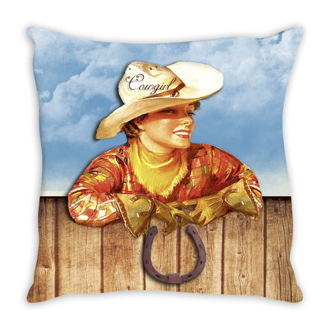 Throw pillow.  Beautiful Vintage Cowgirl Throw Pillow
