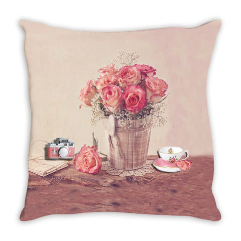 Throw Pillow.  Shabby Chic Vintage Floral Throw Pillow