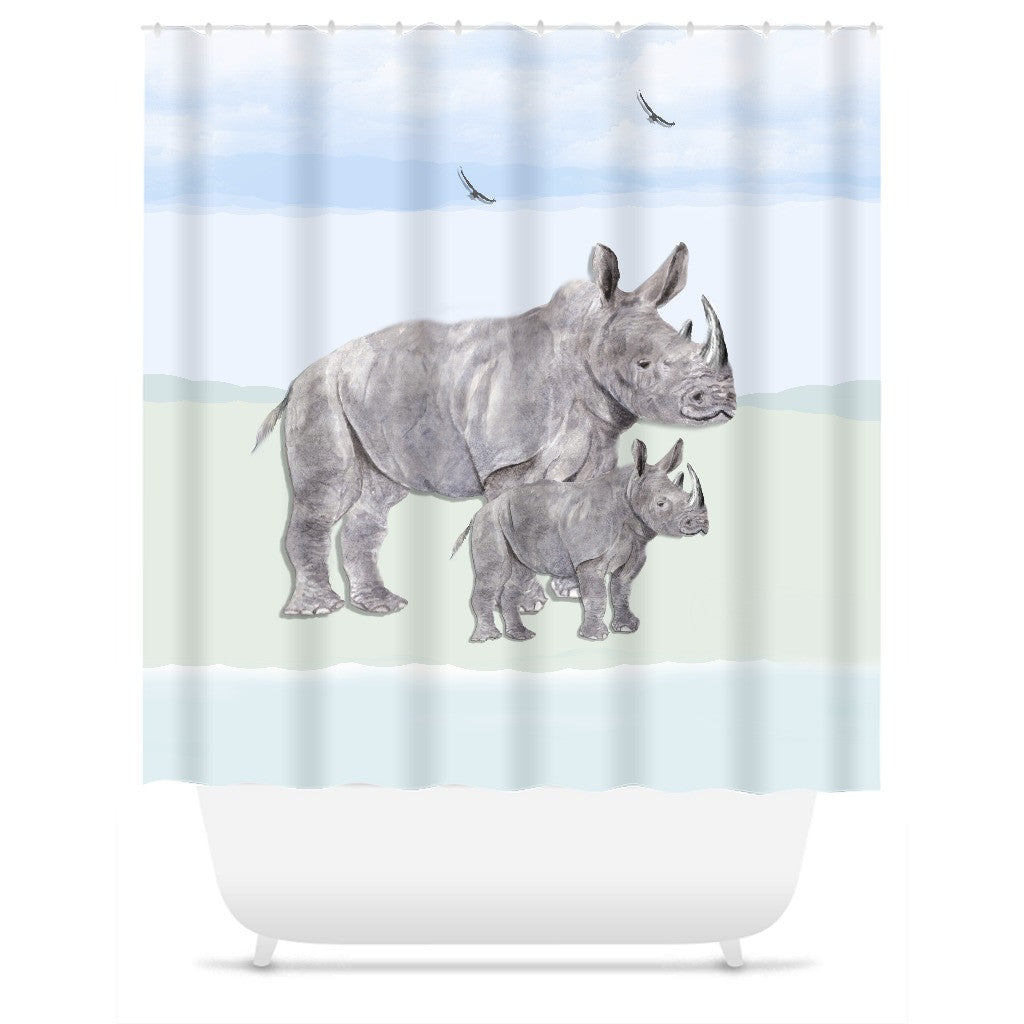 Shower Curtain Mother Rhino and her baby