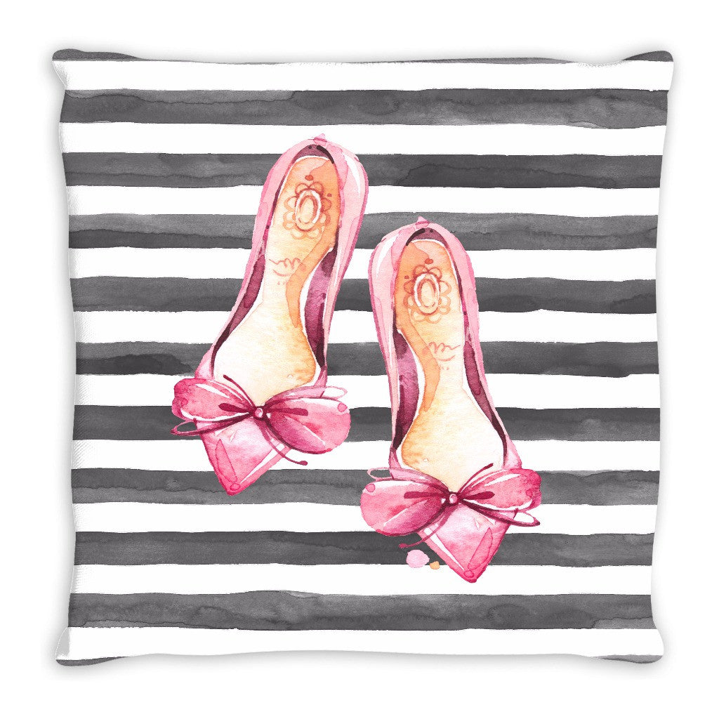 Throw Pillow.  Grey and White Striped Watercolor Fashion Throw Pillow