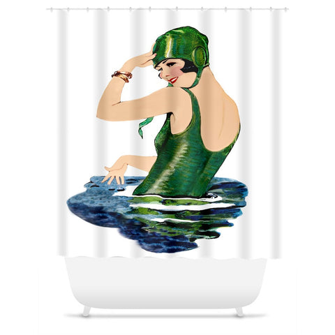 Shower Curtain.  Vintage 1920's Bathing Beauty Shower Curtain