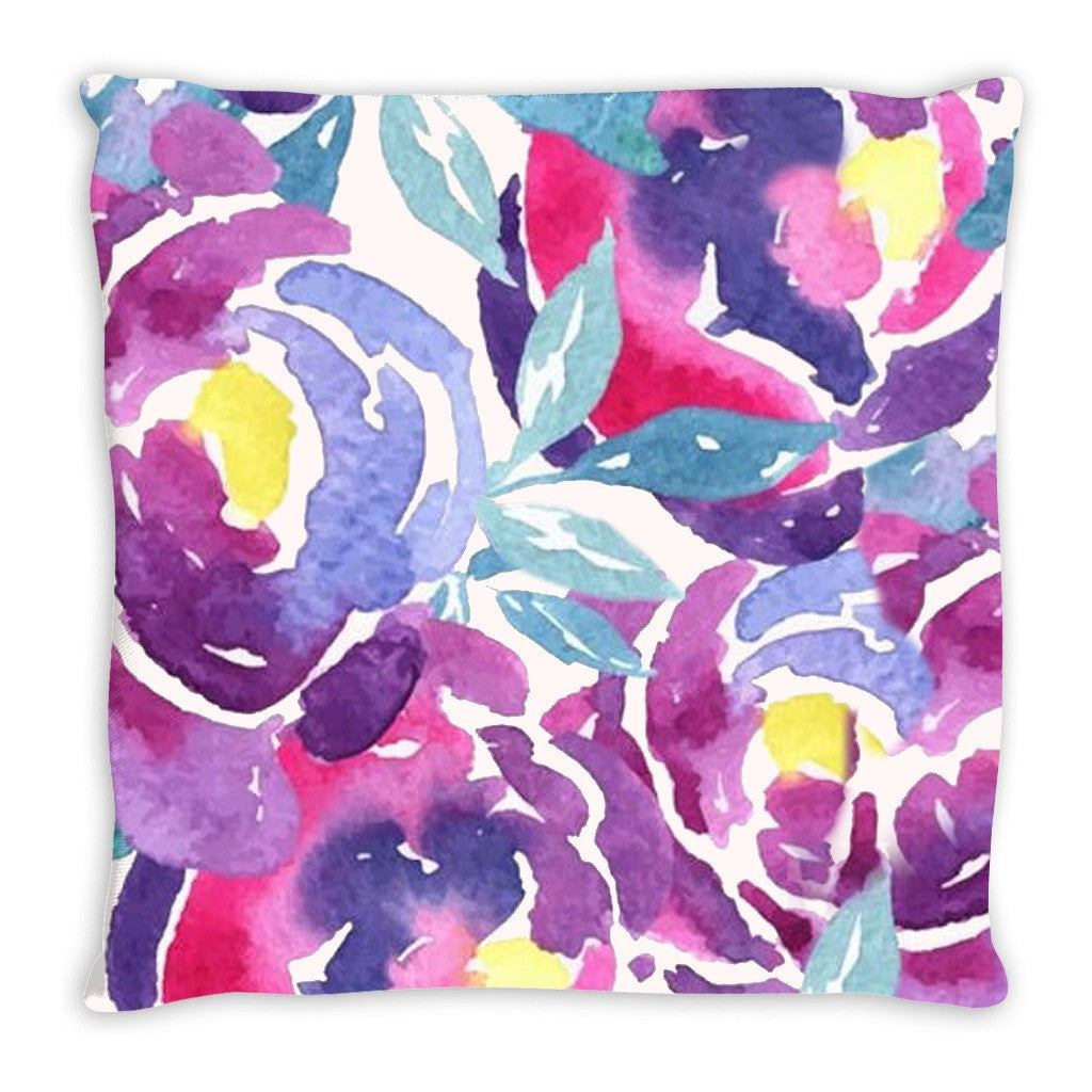 Throw Pillow.  Purple Floral Watercolor Throw Pillow