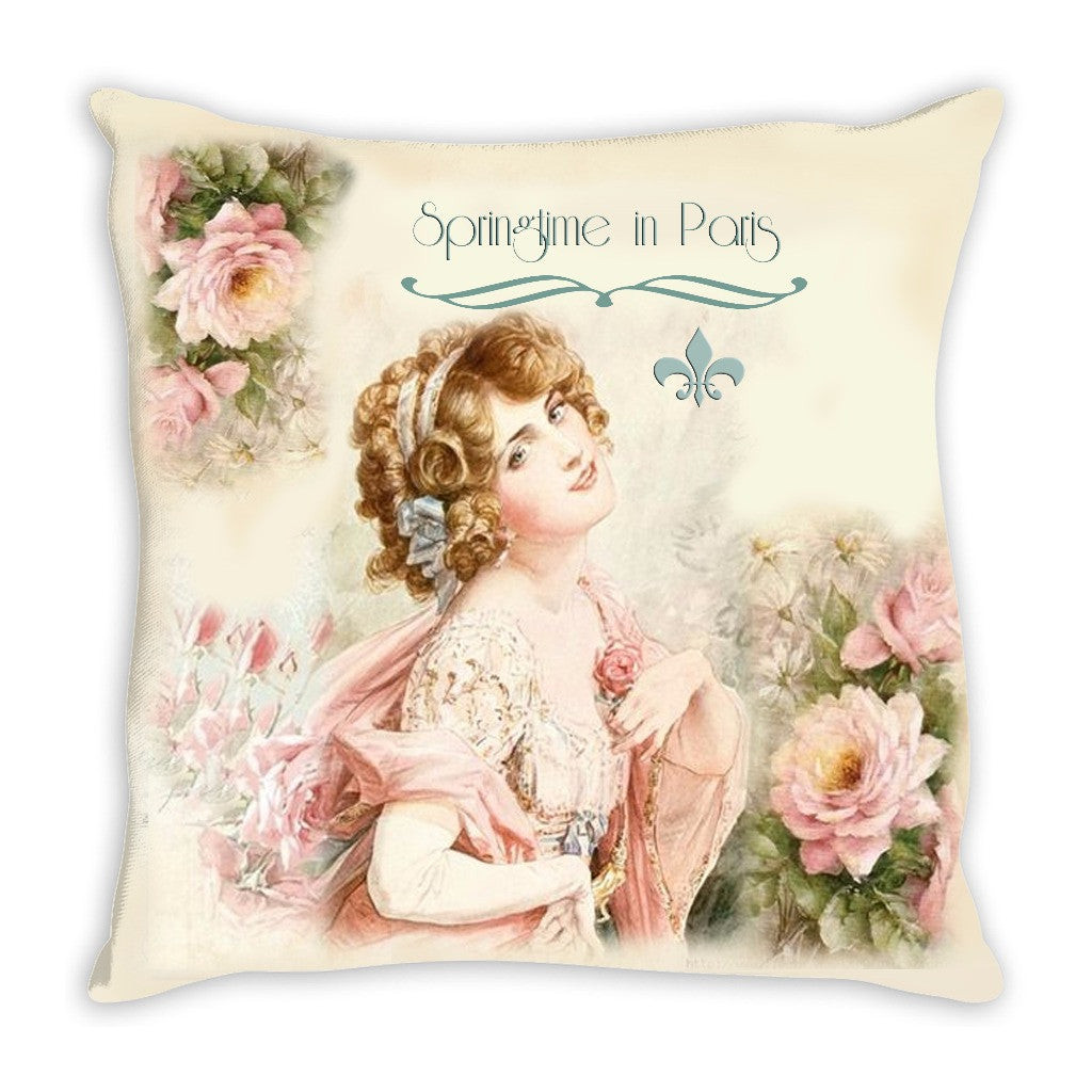 Throw Pillow.  Beautiful Springtime in Paris Throw Pillow