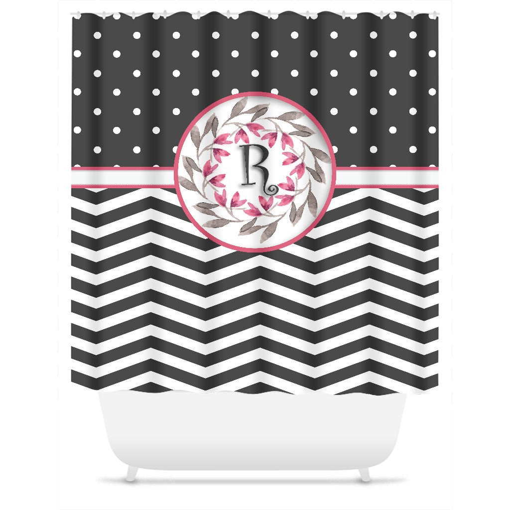Shower Curtain Polka Dot Chevron Personalized