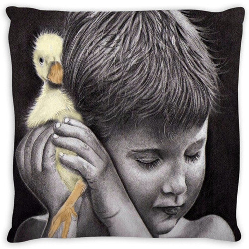 Watercolor Canvas Wall Art. Beautiful Boy and His Duckling. Matching Throw Pillow Sold Serperately