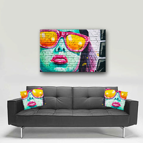 Watercolor Canvas Wall Art.Beautiful Watercolor Graffiti Canvas Art.Matching Pillow Sold Serperately