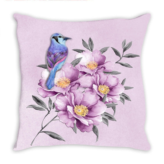 Throw Pillow.  Beautiful Purple Watercolor Floral Throw Pillow