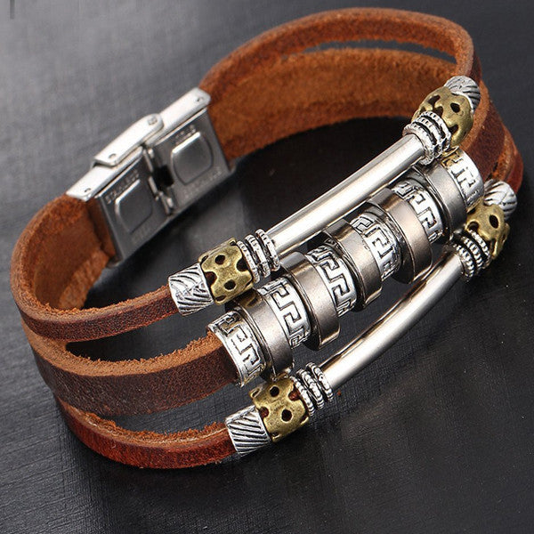 Beautiful Elegant Leather Beaded Womens Bracelet