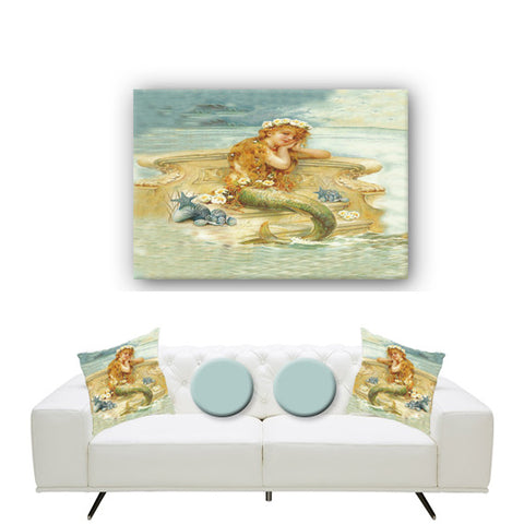 Canvas Wall Art. Beautiful Vintage Mermaid Canvas. Matching Throw Pillow Sold Serperately