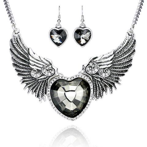 Bright Punk Style Collar Necklace Love Heart & Angel Wings