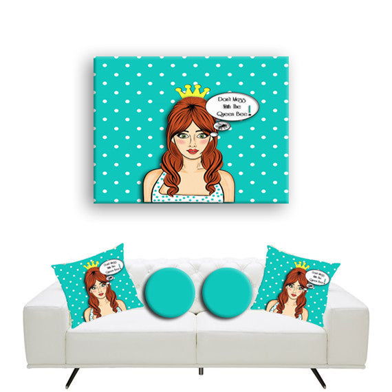 Canvas Wall Art. Funny Retro Girl Canvas Wall Art.  Matching Throw Pillow Sold Serperately
