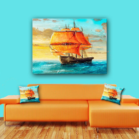 Watercolor Canvas Wall Art. Beautiful Majestic Vessel Canvas. Matching Throw Pillow Sold Serperately