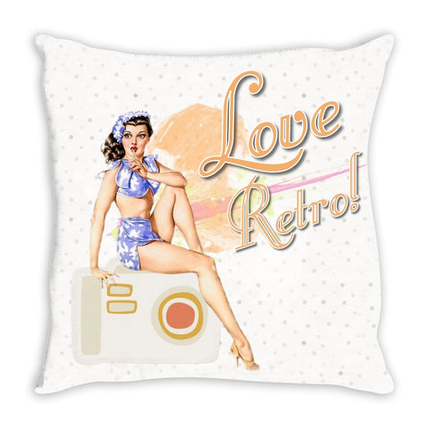 Throw Pillow.  Vintage Retro Pin Up Throw Pillow
