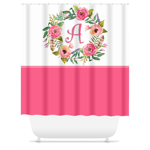 Shower Curtain. Personalized Pink Roses Floral Wreath Shower Curtain